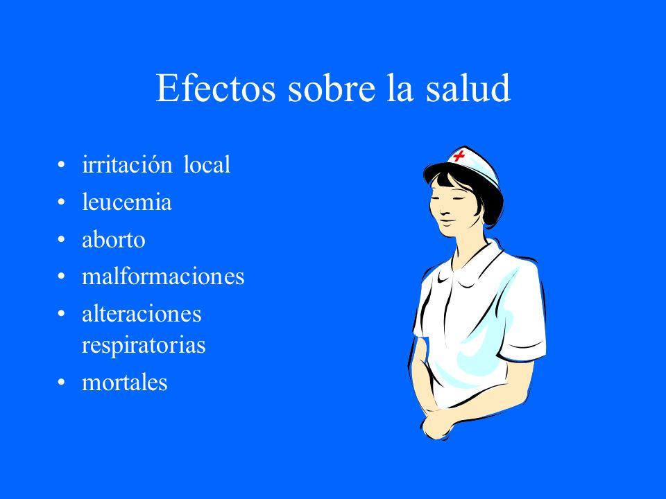 Efectos sobre la salud irritación local leucemia aborto malformaciones alteraciones respiratorias mortales
