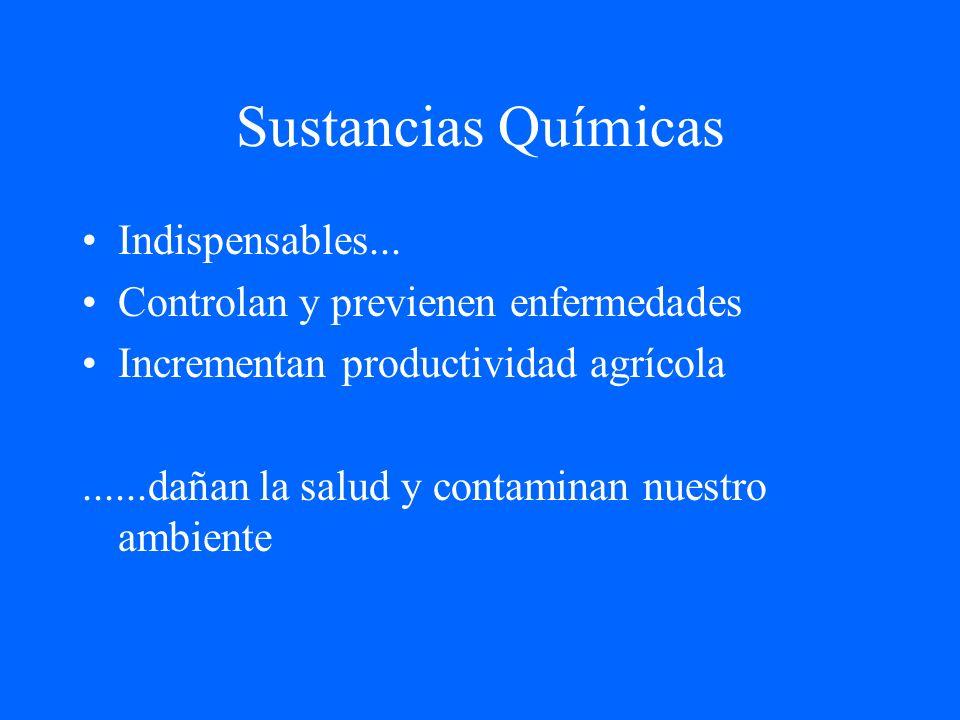 Sustancias Químicas Indispensables... Controlan y previenen enfermedades Incrementan productividad agrícola......dañan la salud y contaminan nuestro a