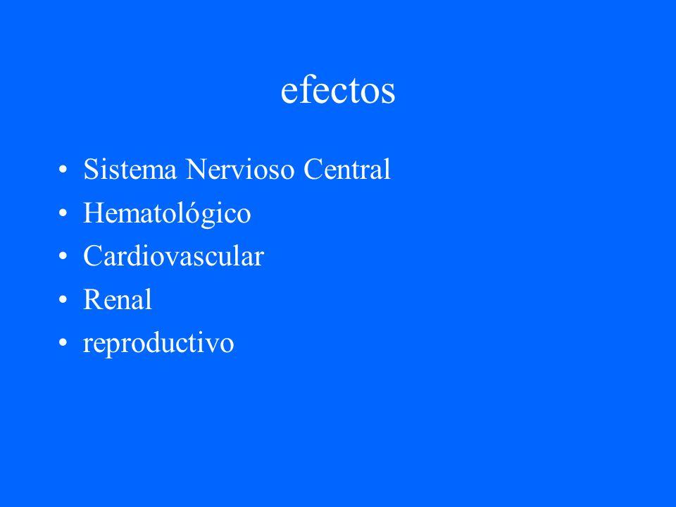 efectos Sistema Nervioso Central Hematológico Cardiovascular Renal reproductivo