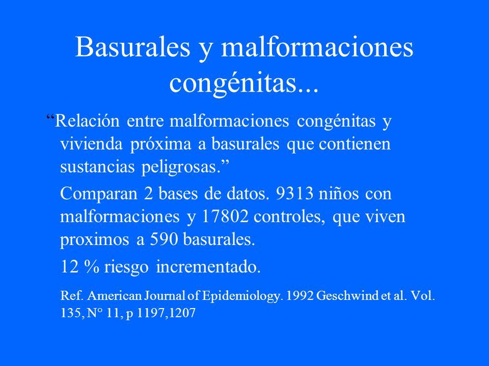 Basurales y malformaciones congénitas... Relación entre malformaciones congénitas y vivienda próxima a basurales que contienen sustancias peligrosas.