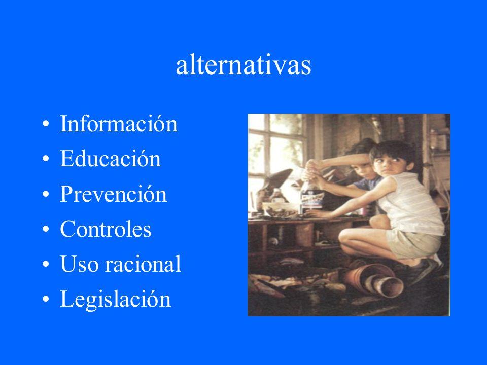 alternativas Información Educación Prevención Controles Uso racional Legislación