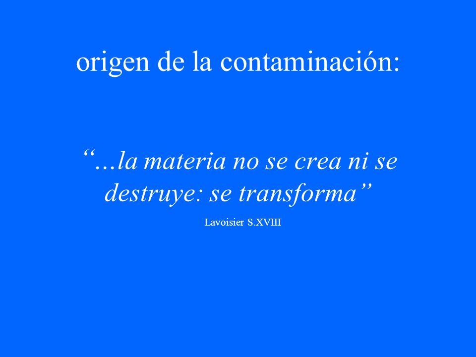 origen de la contaminación:... la materia no se crea ni se destruye: se transforma Lavoisier S.XVIII