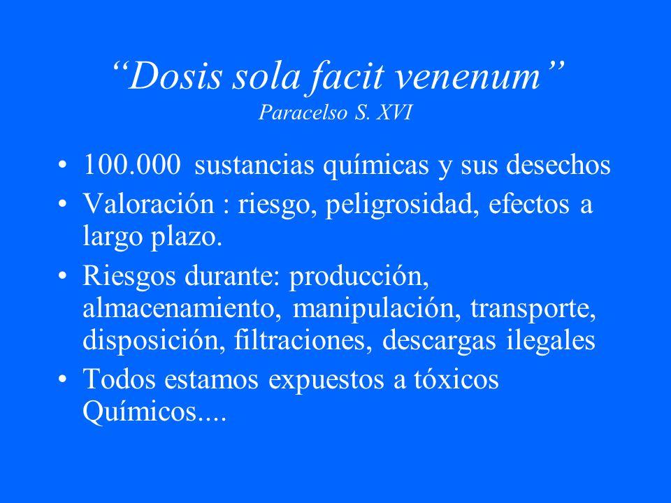 Dosis sola facit venenum Paracelso S. XVI 100.000 sustancias químicas y sus desechos Valoración : riesgo, peligrosidad, efectos a largo plazo. Riesgos