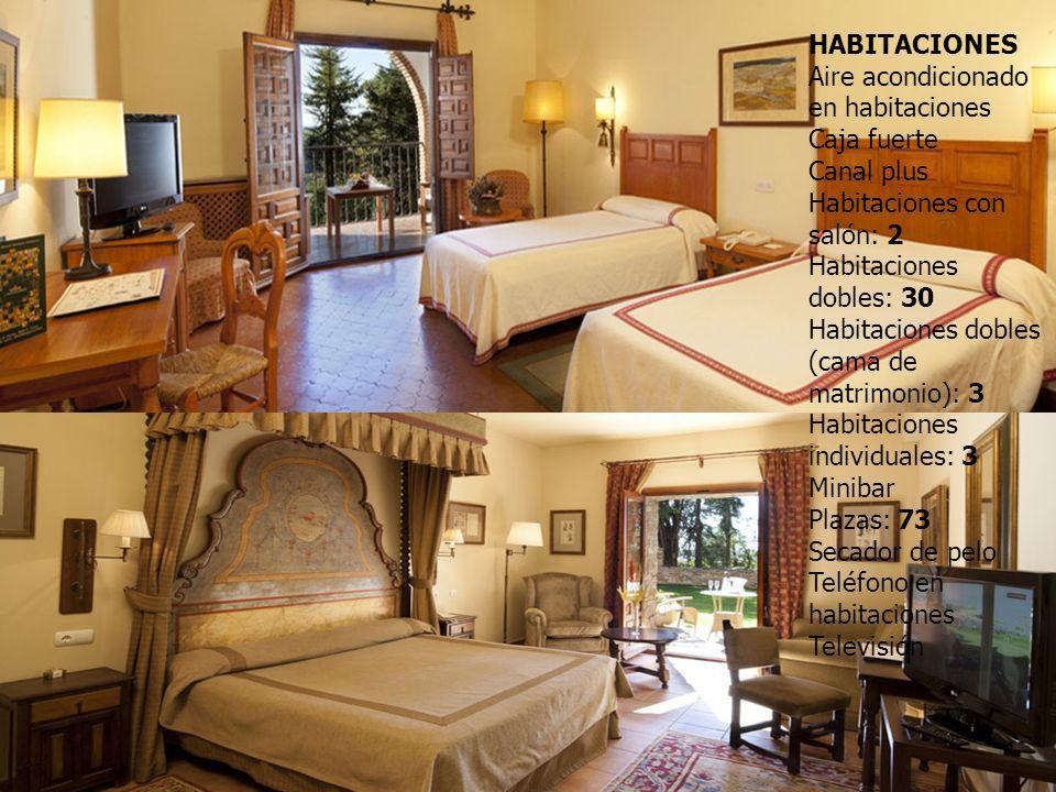HABITACIONES Aire acondicionado en habitaciones Caja fuerte Canal plus Habitaciones con salón: 2 Habitaciones dobles: 30 Habitaciones dobles (cama de matrimonio): 3 Habitaciones individuales: 3 Minibar Plazas: 73 Secador de pelo Teléfono en habitaciones Televisión