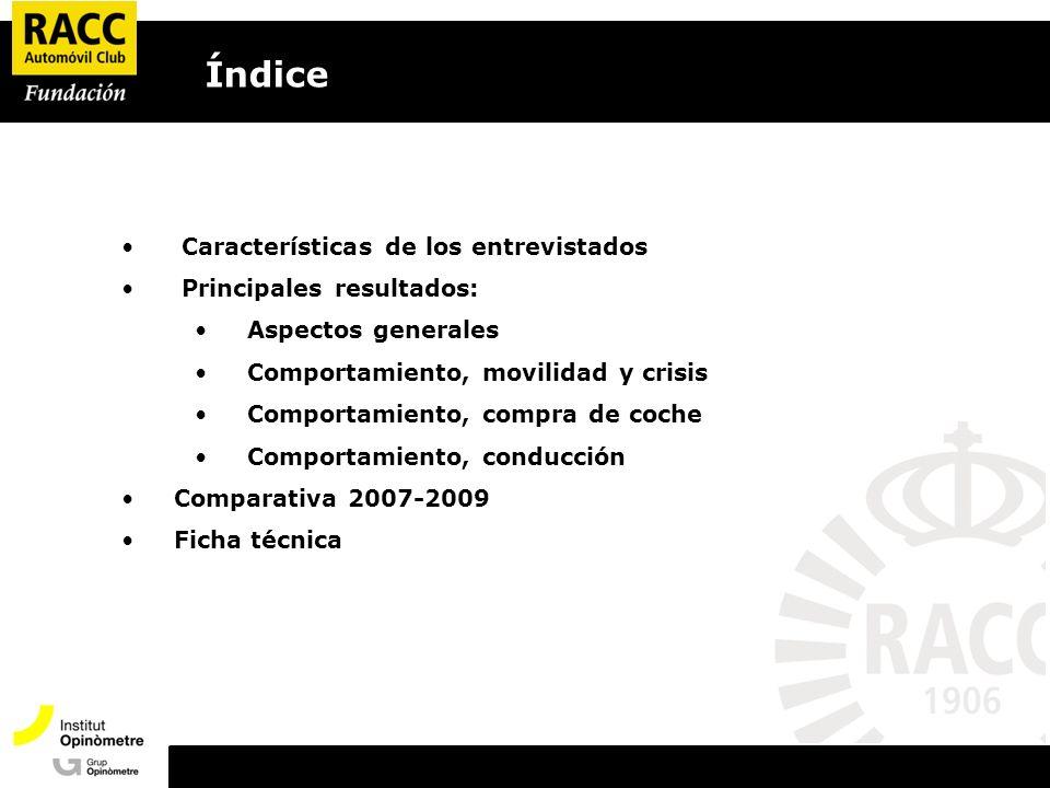 Características de los entrevistados Principales resultados: Aspectos generales Comportamiento, movilidad y crisis Comportamiento, compra de coche Comportamiento, conducción Comparativa 2007-2009 Ficha técnica