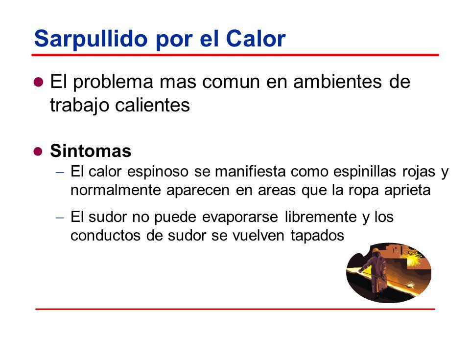 Sarpullido por el Calor El problema mas comun en ambientes de trabajo calientes Sintomas El calor espinoso se manifiesta como espinillas rojas y norma