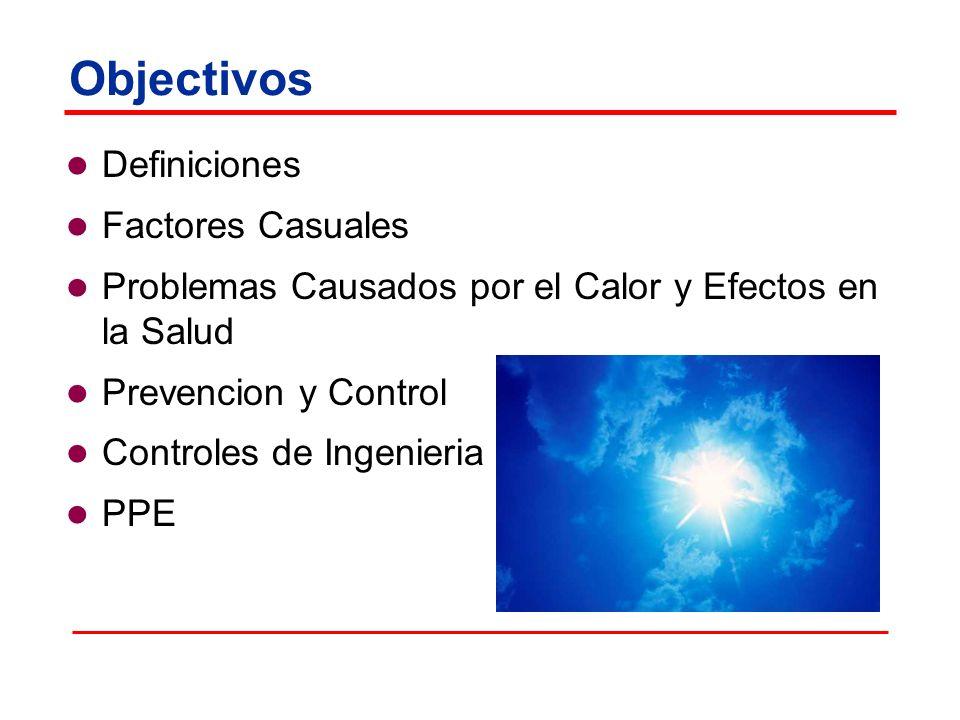 Objectivos Definiciones Factores Casuales Problemas Causados por el Calor y Efectos en la Salud Prevencion y Control Controles de Ingenieria PPE