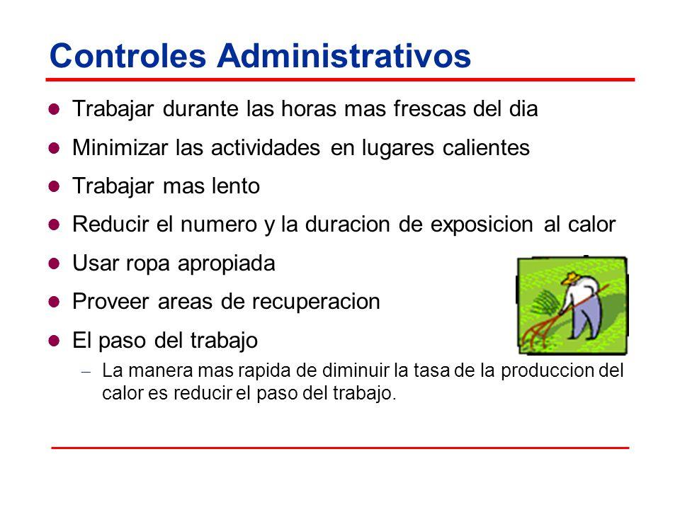 Controles Administrativos Trabajar durante las horas mas frescas del dia Minimizar las actividades en lugares calientes Trabajar mas lento Reducir el