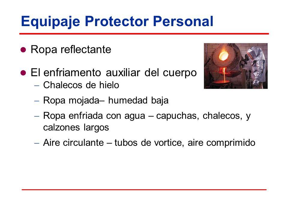Equipaje Protector Personal Ropa reflectante El enfriamento auxiliar del cuerpo Chalecos de hielo Ropa mojada– humedad baja Ropa enfriada con agua – capuchas, chalecos, y calzones largos Aire circulante – tubos de vortice, aire comprimido