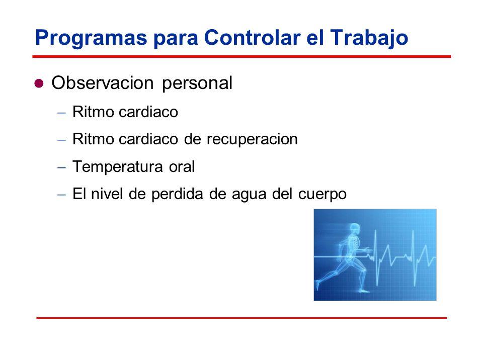 Programas para Controlar el Trabajo Observacion personal Ritmo cardiaco Ritmo cardiaco de recuperacion Temperatura oral El nivel de perdida de agua del cuerpo
