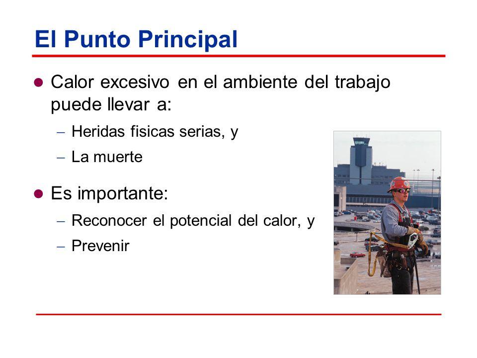 El Punto Principal Calor excesivo en el ambiente del trabajo puede llevar a: Heridas fisicas serias, y La muerte Es importante: Reconocer el potencial del calor, y Prevenir