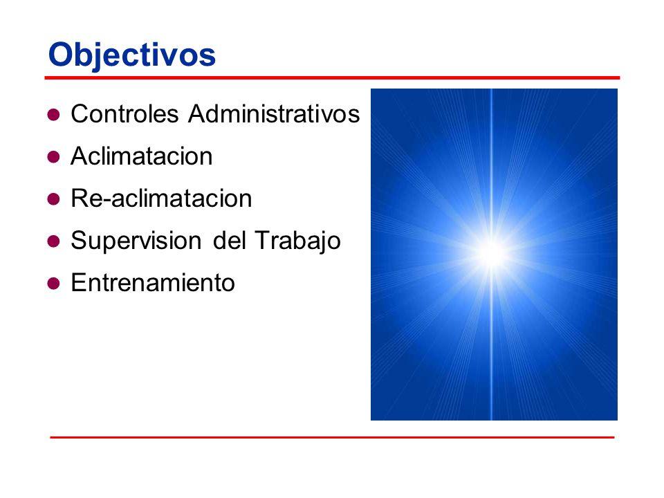 Objectivos Controles Administrativos Aclimatacion Re-aclimatacion Supervision del Trabajo Entrenamiento