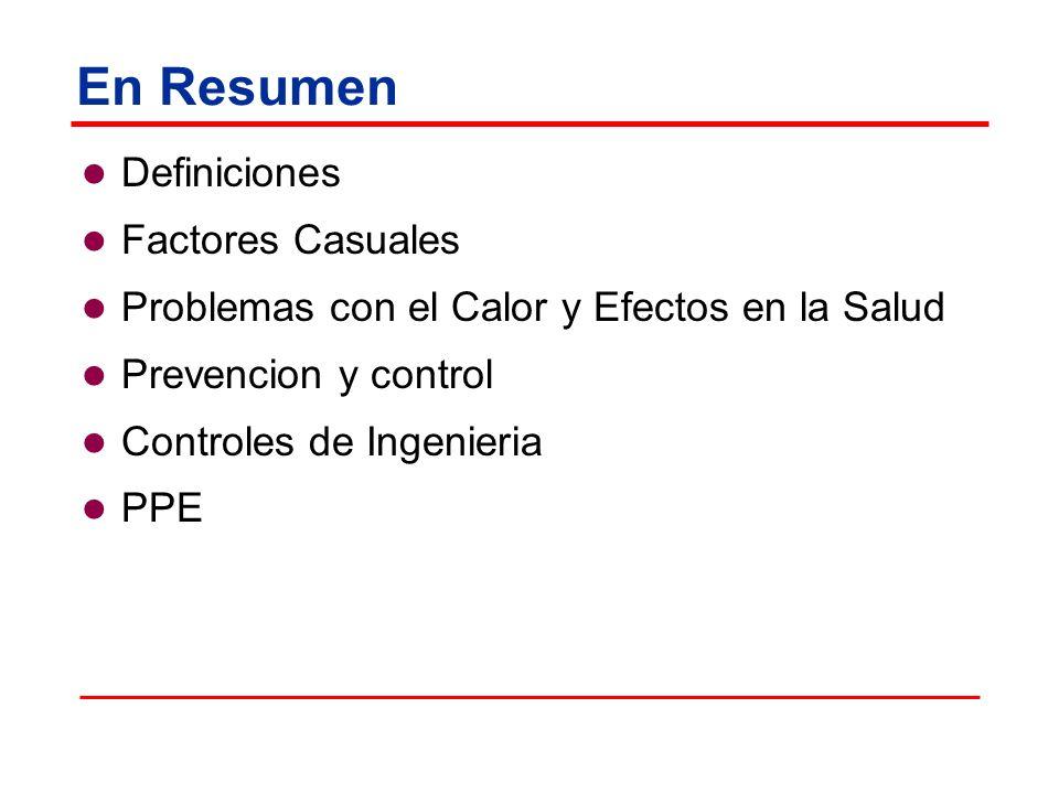 En Resumen Definiciones Factores Casuales Problemas con el Calor y Efectos en la Salud Prevencion y control Controles de Ingenieria PPE