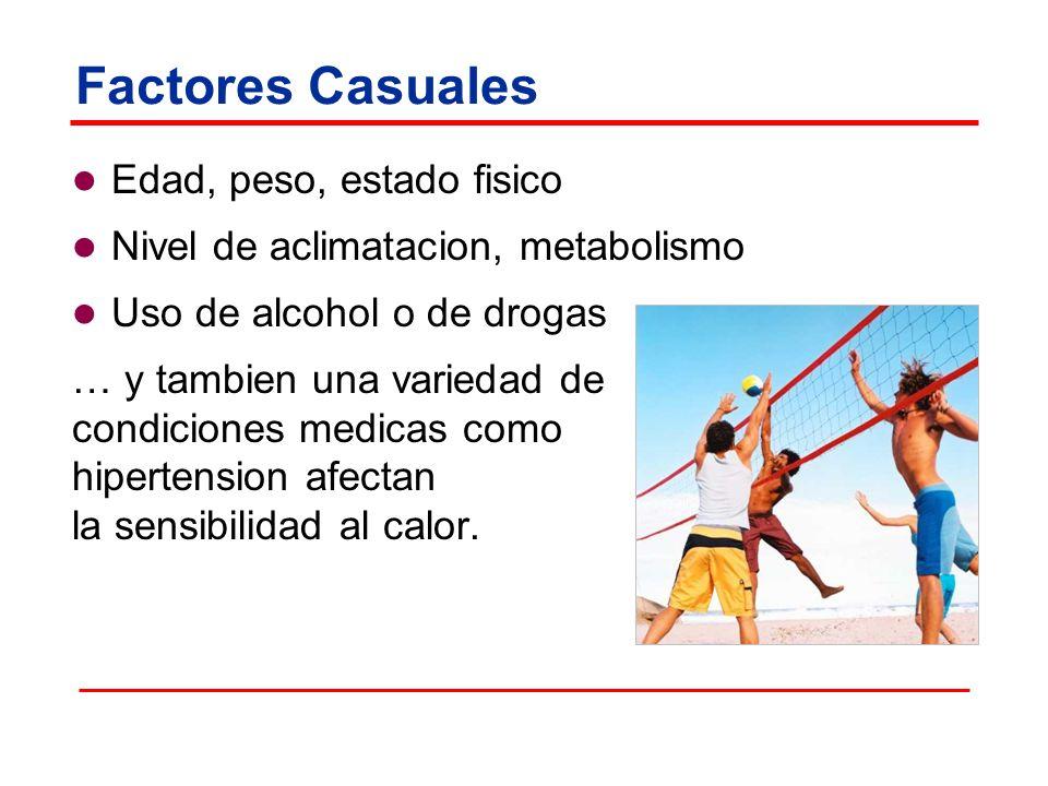 Factores Casuales Edad, peso, estado fisico Nivel de aclimatacion, metabolismo Uso de alcohol o de drogas … y tambien una variedad de condiciones medicas como hipertension afectan la sensibilidad al calor.