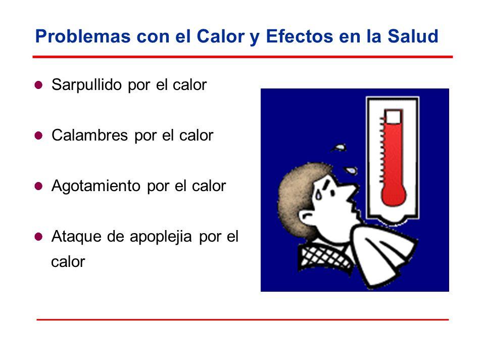 Problemas con el Calor y Efectos en la Salud Sarpullido por el calor Calambres por el calor Agotamiento por el calor Ataque de apoplejia por el calor
