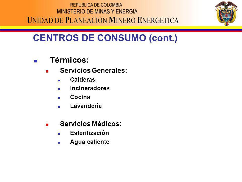 CENTROS DE CONSUMO (cont.) Térmicos: Servicios Generales: Calderas Incineradores Cocina Lavandería Servicios Médicos: Esterilización Agua caliente
