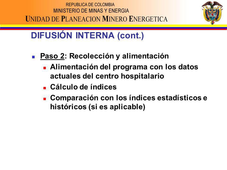 DIFUSIÓN INTERNA (cont.) Paso 2: Recolección y alimentación Alimentación del programa con los datos actuales del centro hospitalario Cálculo de índices Comparación con los índices estadísticos e históricos (si es aplicable)