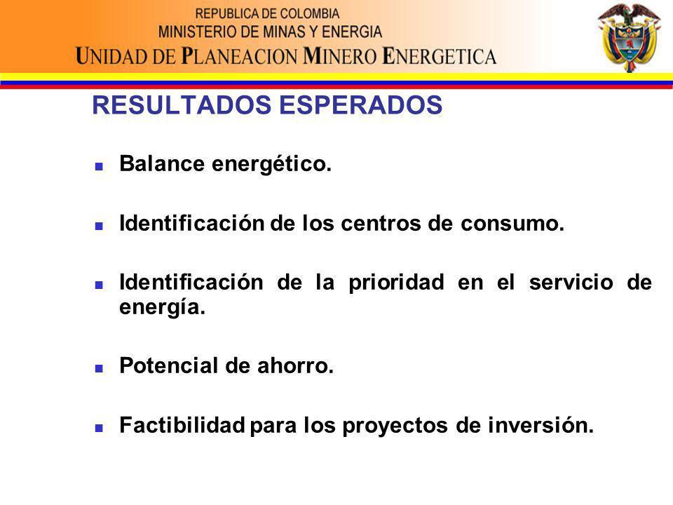 RESULTADOS ESPERADOS Balance energético. Identificación de los centros de consumo.