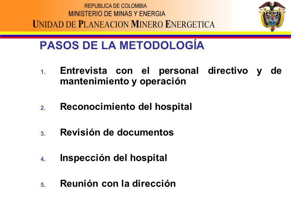 PASOS DE LA METODOLOGÍA 1. Entrevista con el personal directivo y de mantenimiento y operación 2.