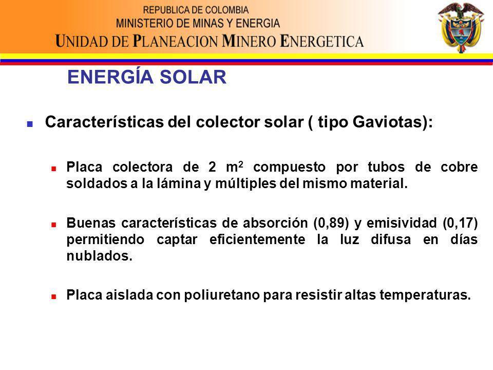 ENERGÍA SOLAR Características del colector solar ( tipo Gaviotas): Placa colectora de 2 m 2 compuesto por tubos de cobre soldados a la lámina y múltiples del mismo material.