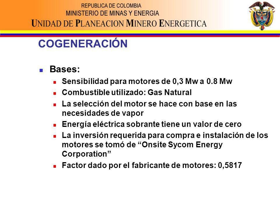 COGENERACIÓN Bases: Sensibilidad para motores de 0,3 Mw a 0.8 Mw Combustible utilizado: Gas Natural La selección del motor se hace con base en las necesidades de vapor Energía eléctrica sobrante tiene un valor de cero La inversión requerida para compra e instalación de los motores se tomó de Onsite Sycom Energy Corporation Factor dado por el fabricante de motores: 0,5817