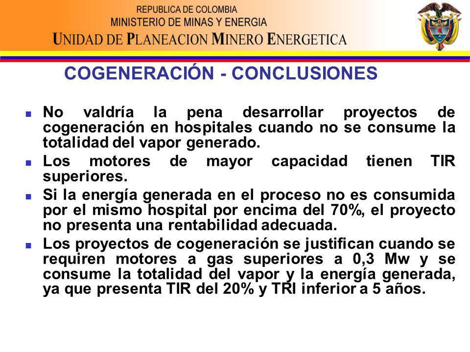 COGENERACIÓN - CONCLUSIONES No valdría la pena desarrollar proyectos de cogeneración en hospitales cuando no se consume la totalidad del vapor generado.