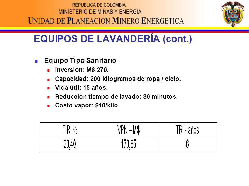 EQUIPOS DE LAVANDERÍA (cont.) Equipo Tipo Sanitario Inversión: M$ 270.