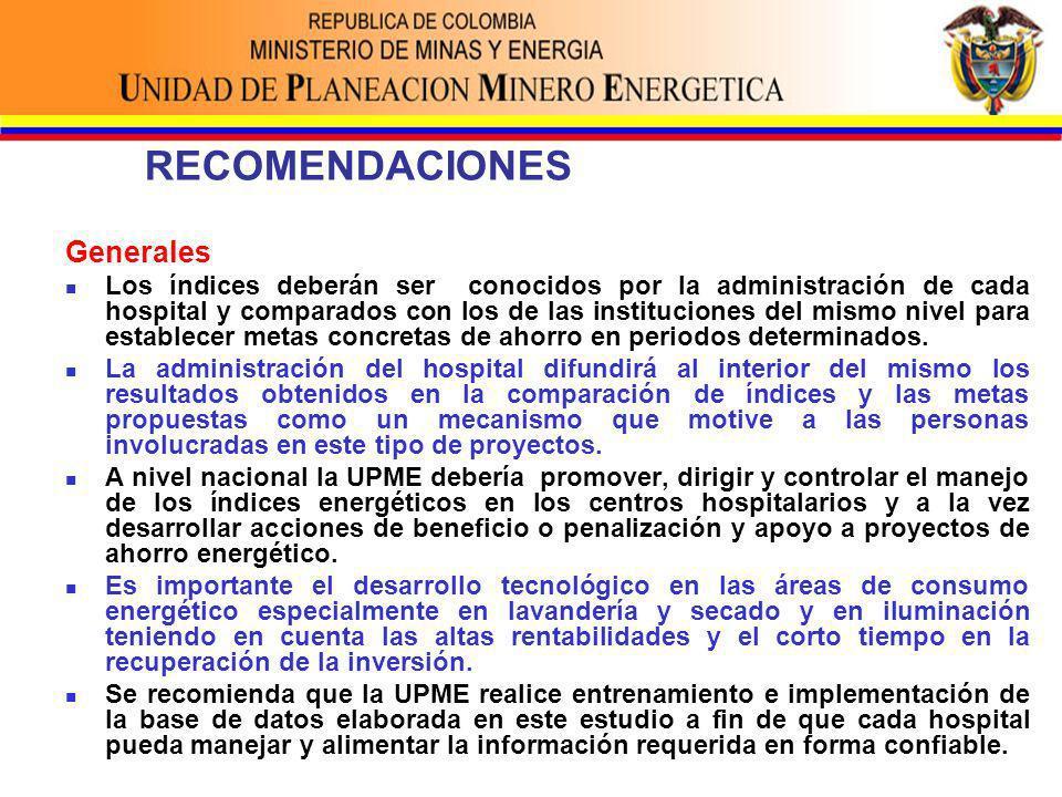 RECOMENDACIONES Generales Los índices deberán ser conocidos por la administración de cada hospital y comparados con los de las instituciones del mismo nivel para establecer metas concretas de ahorro en periodos determinados.