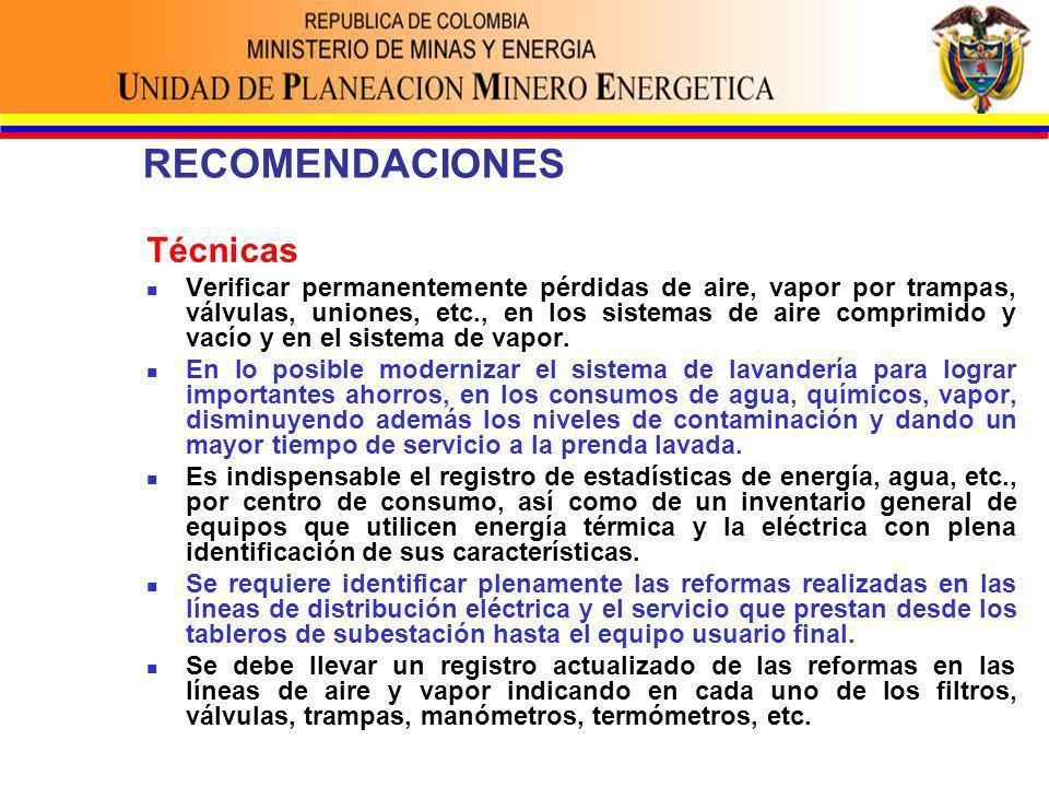 RECOMENDACIONES Técnicas Verificar permanentemente pérdidas de aire, vapor por trampas, válvulas, uniones, etc., en los sistemas de aire comprimido y vacío y en el sistema de vapor.