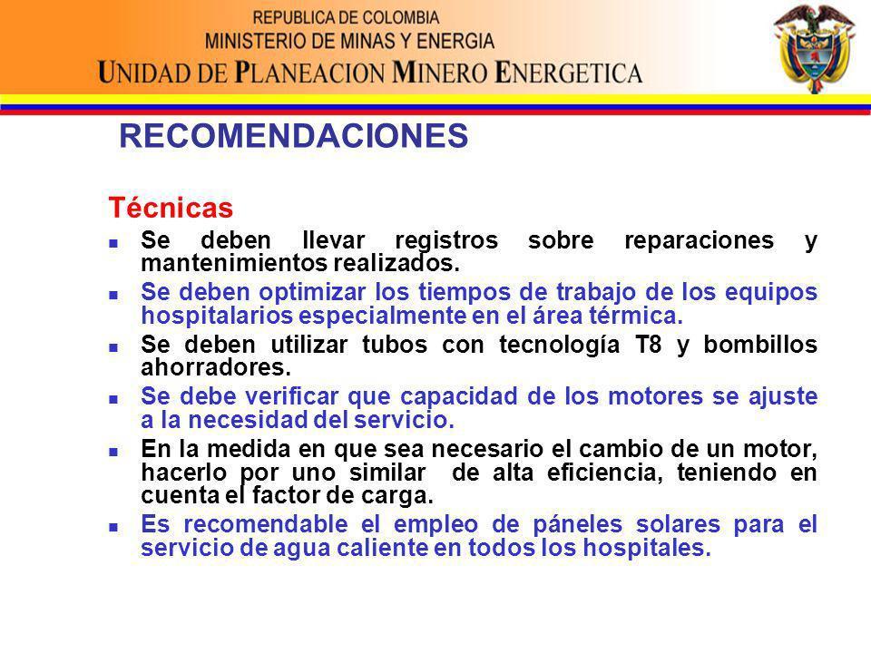 RECOMENDACIONES Técnicas Se deben llevar registros sobre reparaciones y mantenimientos realizados.