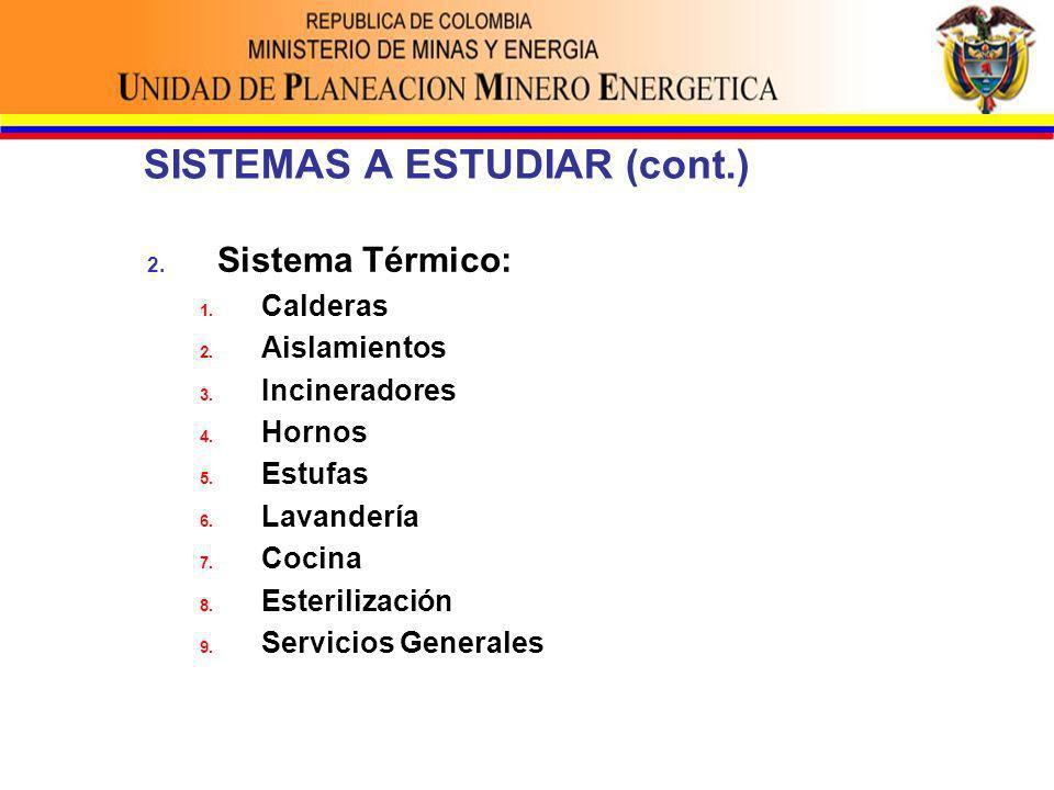 SISTEMAS A ESTUDIAR (cont.) 2. Sistema Térmico: 1.