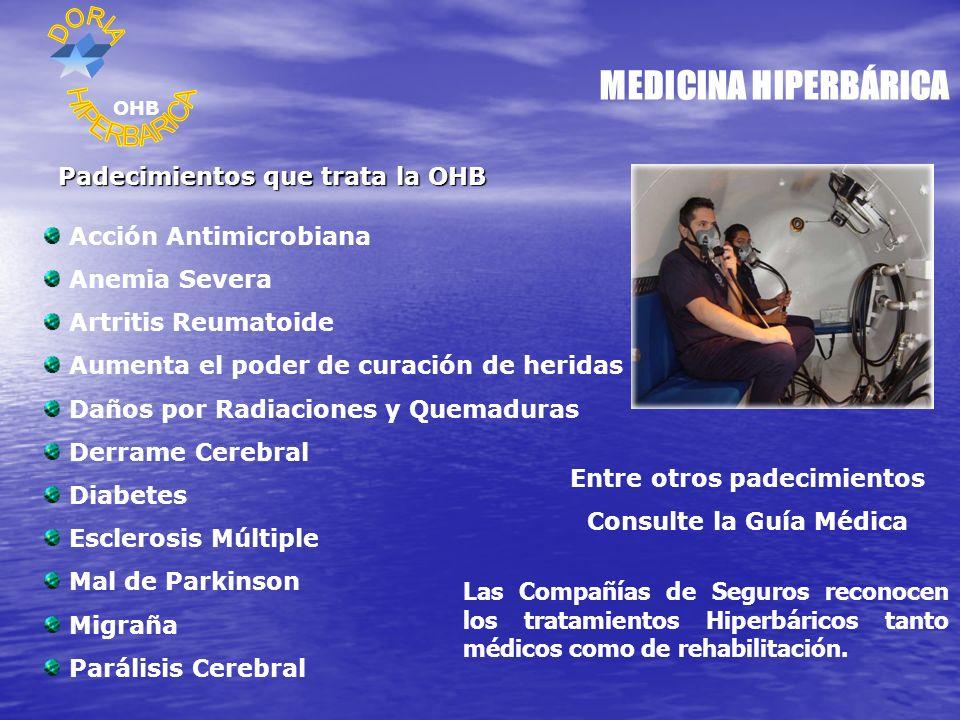 MEDICINA HIPERBÁRICA Padecimientos que trata la OHB Acción Antimicrobiana Anemia Severa Artritis Reumatoide Aumenta el poder de curación de heridas Daños por Radiaciones y Quemaduras Derrame Cerebral Diabetes Esclerosis Múltiple Mal de Parkinson Migraña Parálisis Cerebral Entre otros padecimientos Consulte la Guía Médica OHB Las Compañías de Seguros reconocen los tratamientos Hiperbáricos tanto médicos como de rehabilitación.