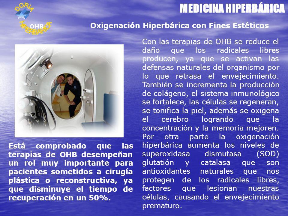 MEDICINA HIPERBÁRICA Oxigenación Hiperbárica con Fines Estéticos Con las terapias de OHB se reduce el daño que los radicales libres producen, ya que se activan las defensas naturales del organismo por lo que retrasa el envejecimiento.
