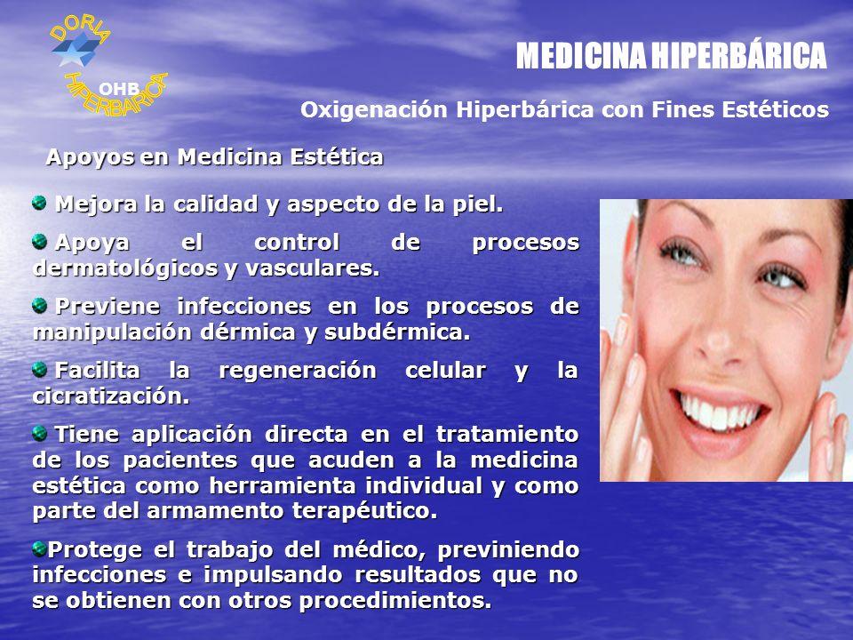MEDICINA HIPERBÁRICA Oxigenación Hiperbárica con Fines Estéticos Apoyos en Medicina Estética Mejora la calidad y aspecto de la piel. Apoya el control