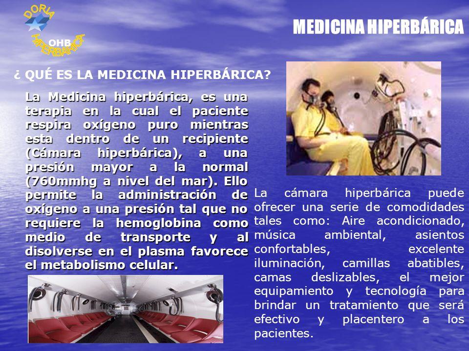 MEDICINA HIPERBÁRICA ¿ QUÉ ES LA MEDICINA HIPERBÁRICA? La Medicina hiperbárica, es una terapia en la cual el paciente respira oxígeno puro mientras es