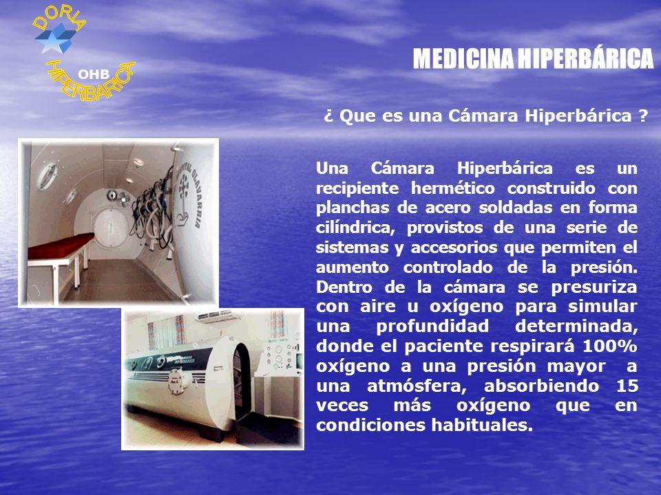 MEDICINA HIPERBÁRICA ¿ Que es una Cámara Hiperbárica ? Una Cámara Hiperbárica es un recipiente hermético construido con planchas de acero soldadas en
