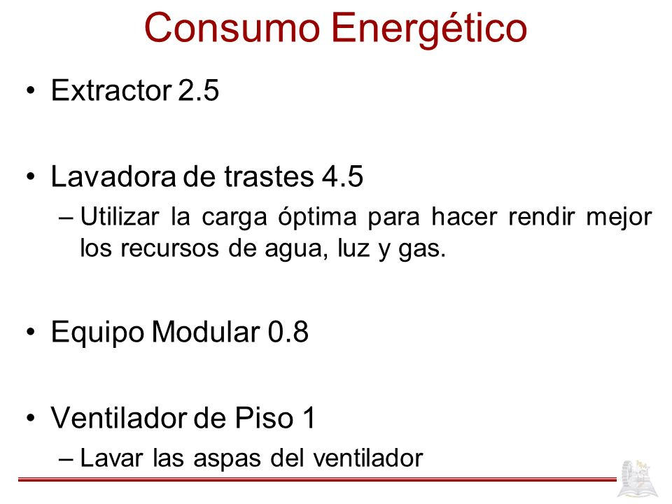 Consumo Energético Extractor 2.5 Lavadora de trastes 4.5 –Utilizar la carga óptima para hacer rendir mejor los recursos de agua, luz y gas.