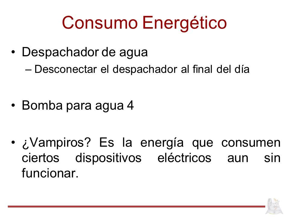 Consumo Energético Despachador de agua –Desconectar el despachador al final del día Bomba para agua 4 ¿Vampiros.