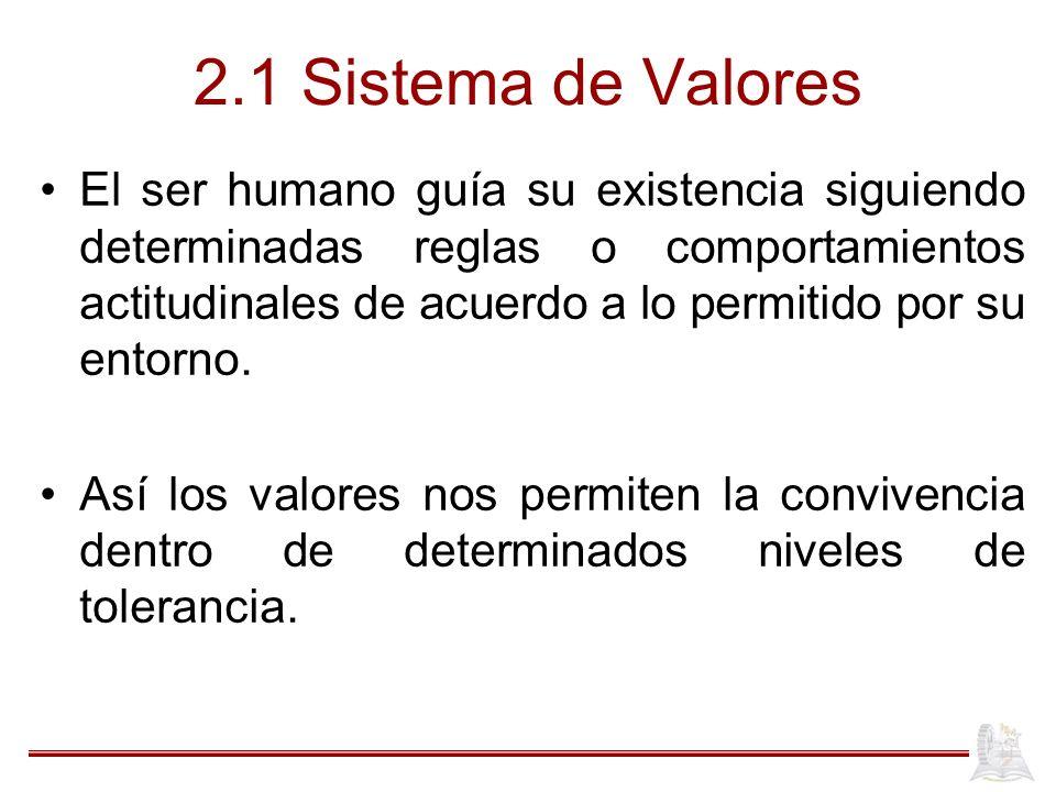 2.1 Sistema de Valores El ser humano guía su existencia siguiendo determinadas reglas o comportamientos actitudinales de acuerdo a lo permitido por su entorno.