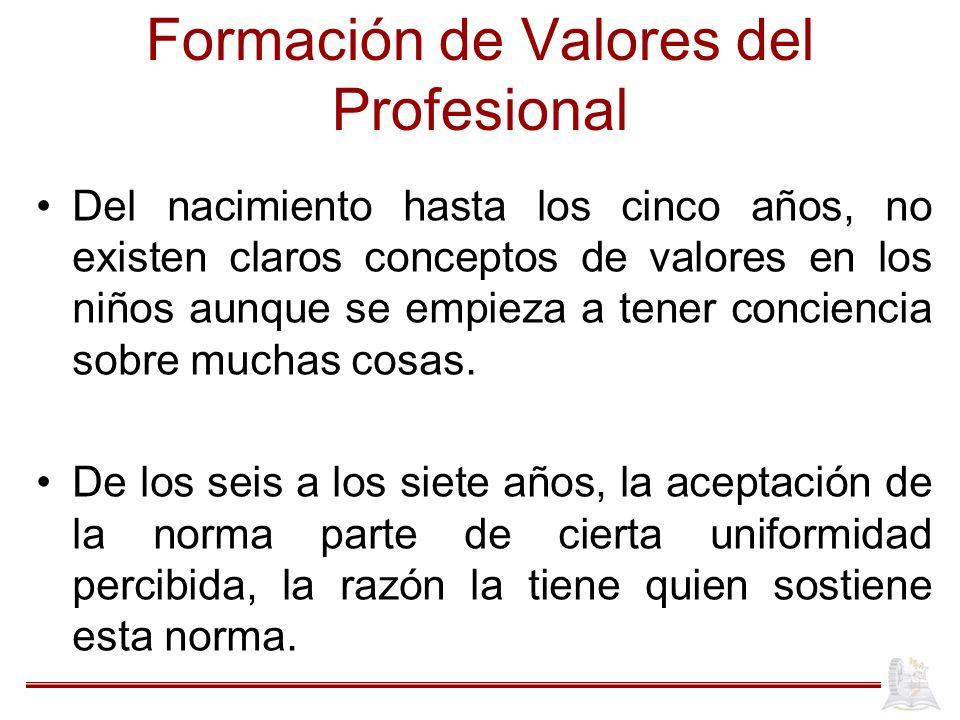 Formación de Valores del Profesional Del nacimiento hasta los cinco años, no existen claros conceptos de valores en los niños aunque se empieza a tener conciencia sobre muchas cosas.