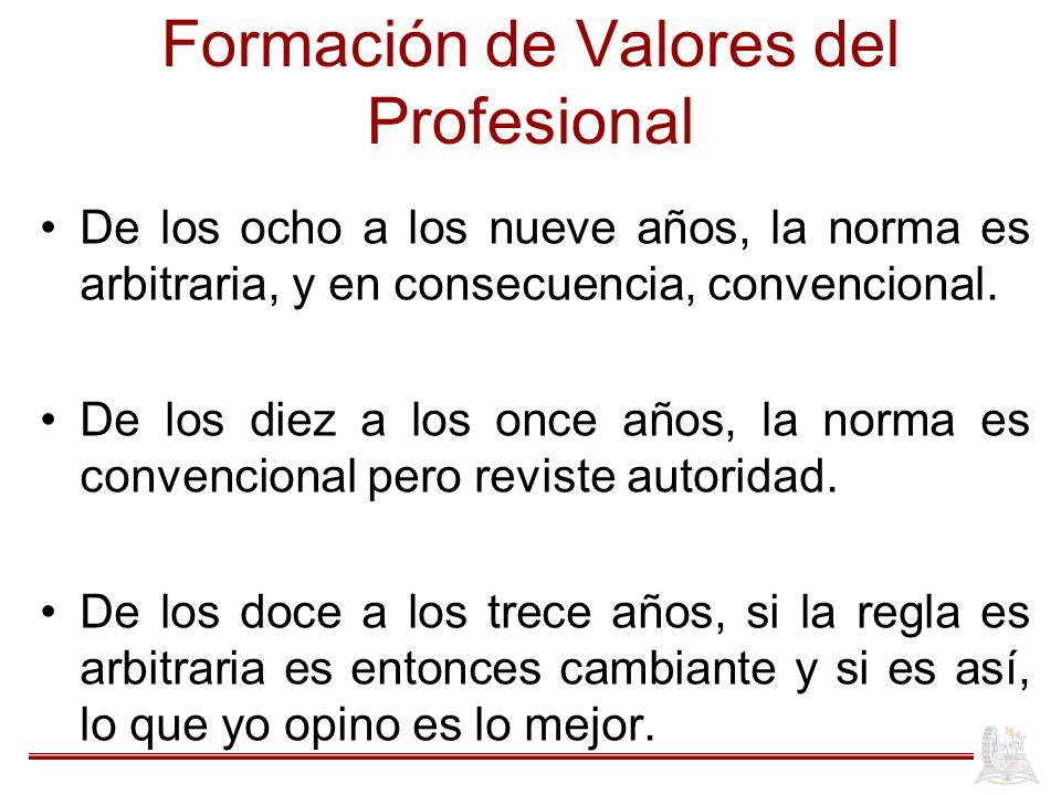 Formación de Valores del Profesional De los ocho a los nueve años, la norma es arbitraria, y en consecuencia, convencional.