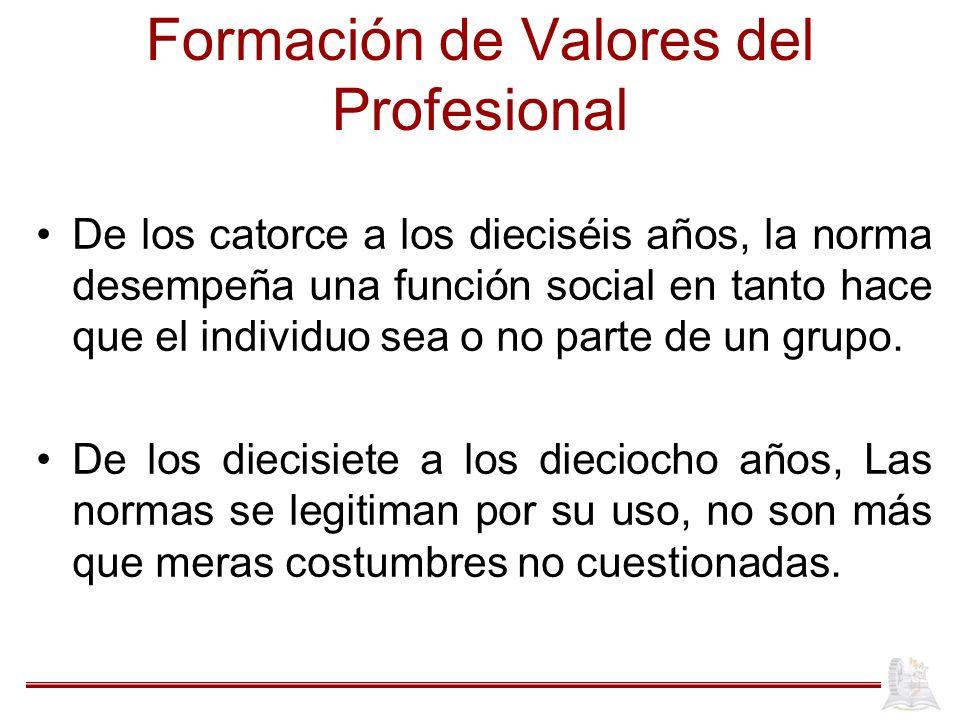 Formación de Valores del Profesional De los catorce a los dieciséis años, la norma desempeña una función social en tanto hace que el individuo sea o no parte de un grupo.