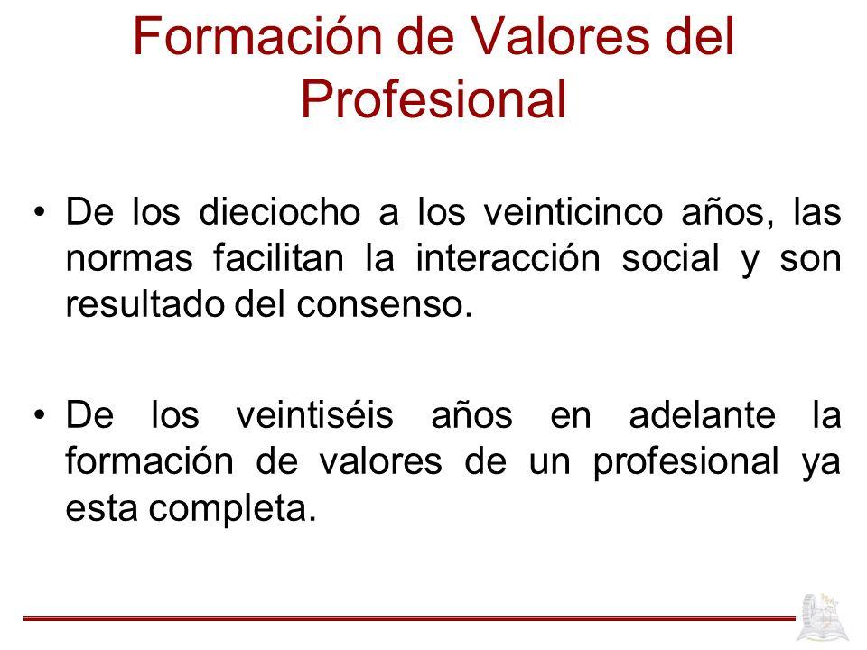 Formación de Valores del Profesional De los dieciocho a los veinticinco años, las normas facilitan la interacción social y son resultado del consenso.