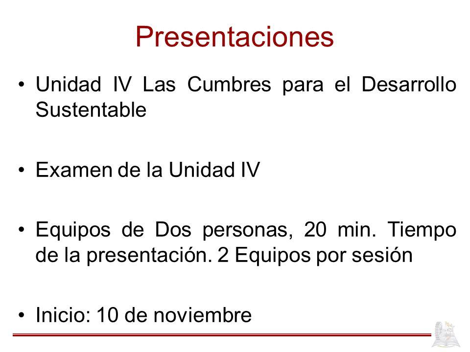 Presentaciones Unidad IV Las Cumbres para el Desarrollo Sustentable Examen de la Unidad IV Equipos de Dos personas, 20 min.