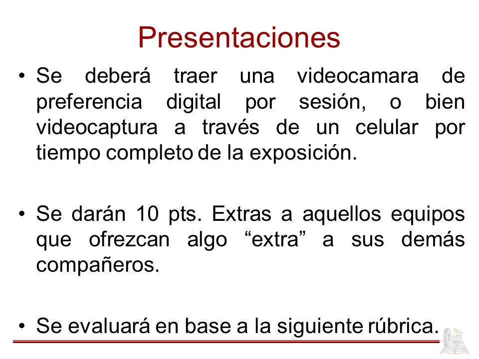 Presentaciones Se deberá traer una videocamara de preferencia digital por sesión, o bien videocaptura a través de un celular por tiempo completo de la exposición.