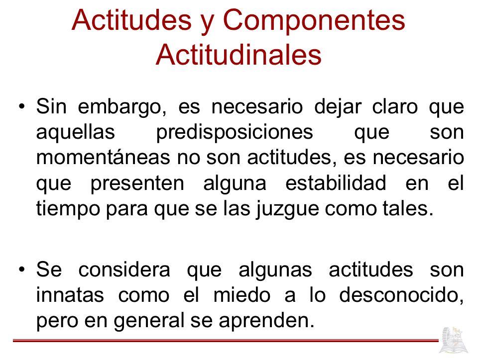Actitudes y Componentes Actitudinales Sin embargo, es necesario dejar claro que aquellas predisposiciones que son momentáneas no son actitudes, es necesario que presenten alguna estabilidad en el tiempo para que se las juzgue como tales.