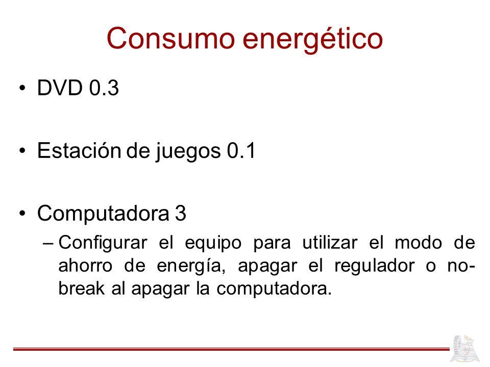 Consumo energético DVD 0.3 Estación de juegos 0.1 Computadora 3 –Configurar el equipo para utilizar el modo de ahorro de energía, apagar el regulador o no- break al apagar la computadora.