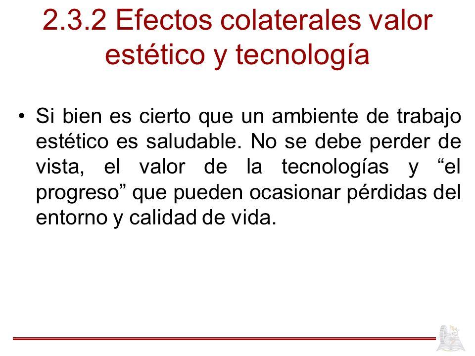2.3.2 Efectos colaterales valor estético y tecnología Si bien es cierto que un ambiente de trabajo estético es saludable.