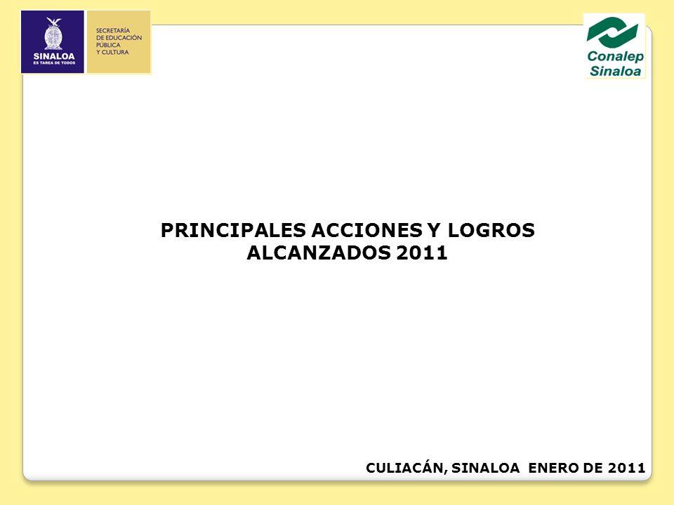 CULIACÁN, SINALOA ENERO DE 2011 PRINCIPALES ACCIONES Y LOGROS ALCANZADOS 2011