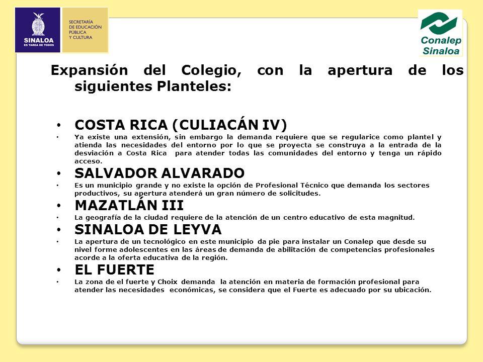 COSTA RICA (CULIACÁN IV) Ya existe una extensión, sin embargo la demanda requiere que se regularice como plantel y atienda las necesidades del entorno por lo que se proyecta se construya a la entrada de la desviación a Costa Rica para atender todas las comunidades del entorno y tenga un rápido acceso.